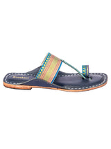 Blue Base and Jari Noticeable T Kolhapuri Leather Sandal