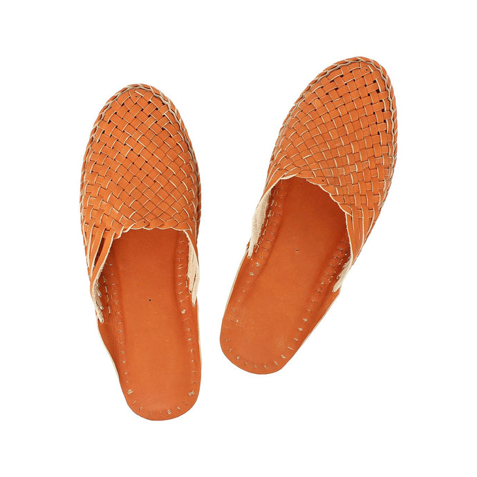 Orange Kolhapuri Half Shoe