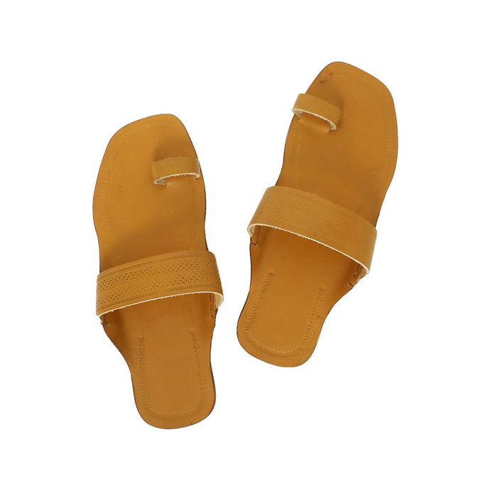 Dark Yellow Kolhapuri Chappal
