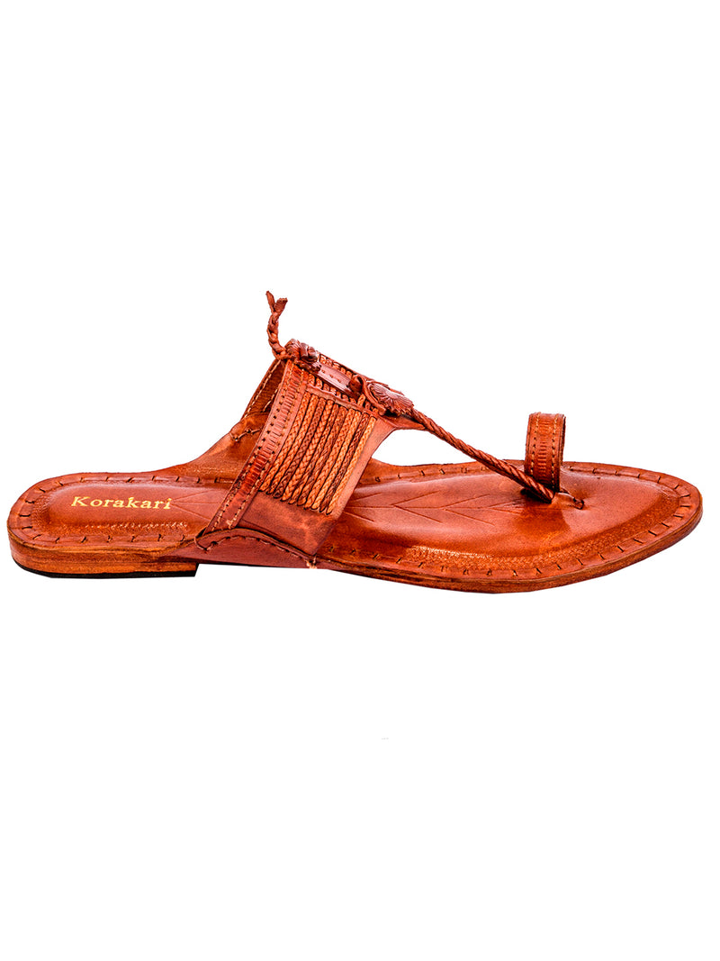 Vintage Design Tan Kolhapuri Chappal for Women