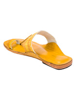 Yellow Jari Belt and Bottom Kolhapuri Chappal for Women