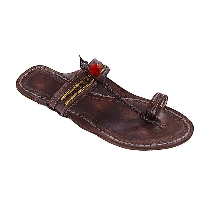 Brown Kolhapuri Leather Slip Ons
