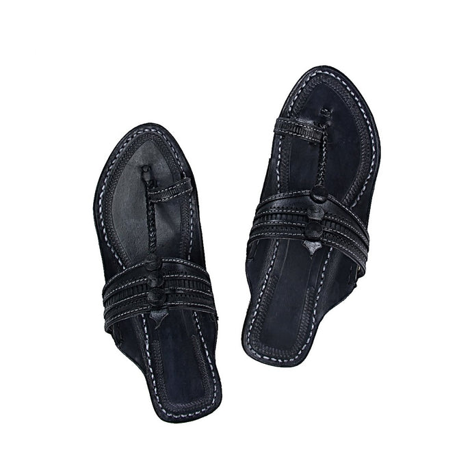 Black Kolhapuri Leather Slip Ons