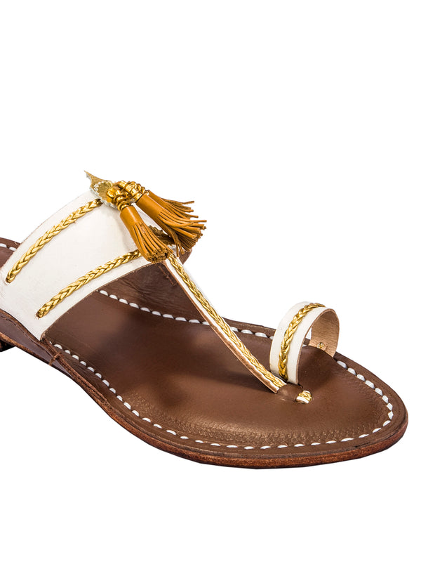 White Upper and Brown Brown Base Yellow Pom-Pom Pointed Kolhapuri Chappal
