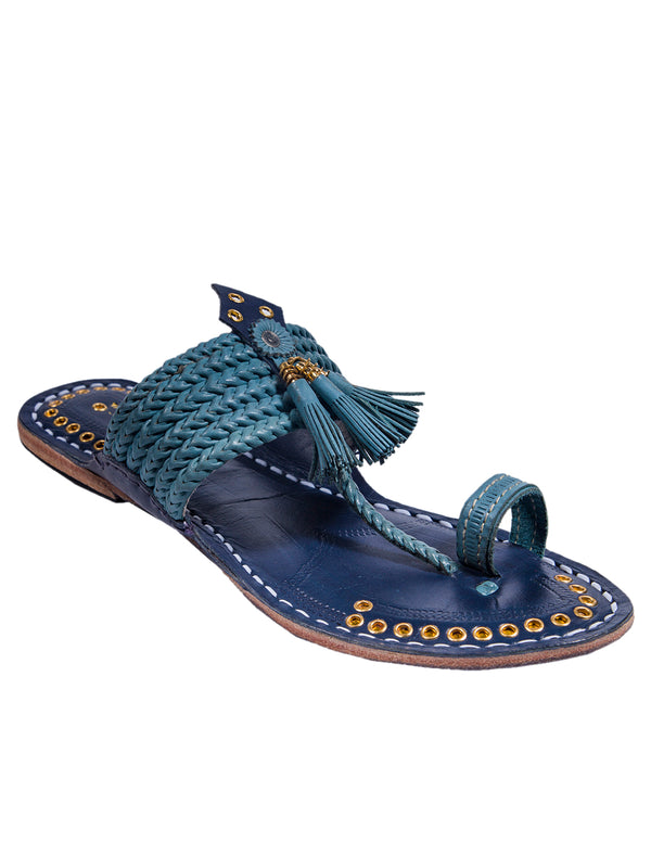 Sky Blue Upper and Dark Blue Base Pointed Kolhapuri Chappal for Women