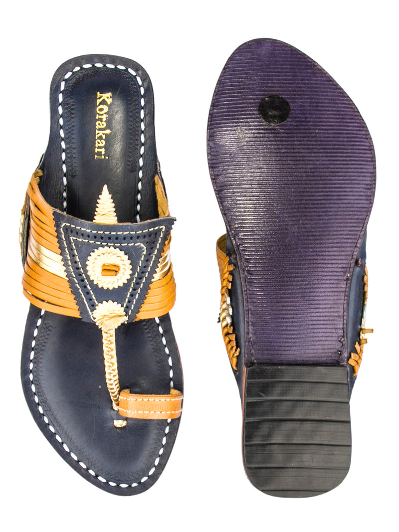 Stunning Fourteen Laces Yellow Upper and Dark Blue Base Kolhapuri Chappal for Women