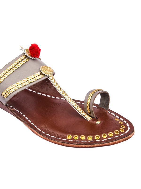 Grey Upper and Brown Base Golden Braids Kolhapuri Chappal for Women