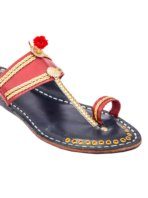 Cherry Red Upper and Dark Blue Base with Golden Braids Kolhapuri Chappal for Women