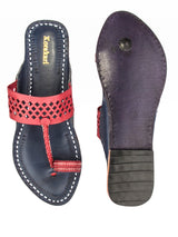 Cherry Red Diamond Punching Upper and Dark Blue Base Authentic Kolhapuri Chappal for Women