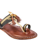 Dazzling Black Upper and Dark Brown Base with Brown Pom-Pom Kolhapuri Chappal for Women