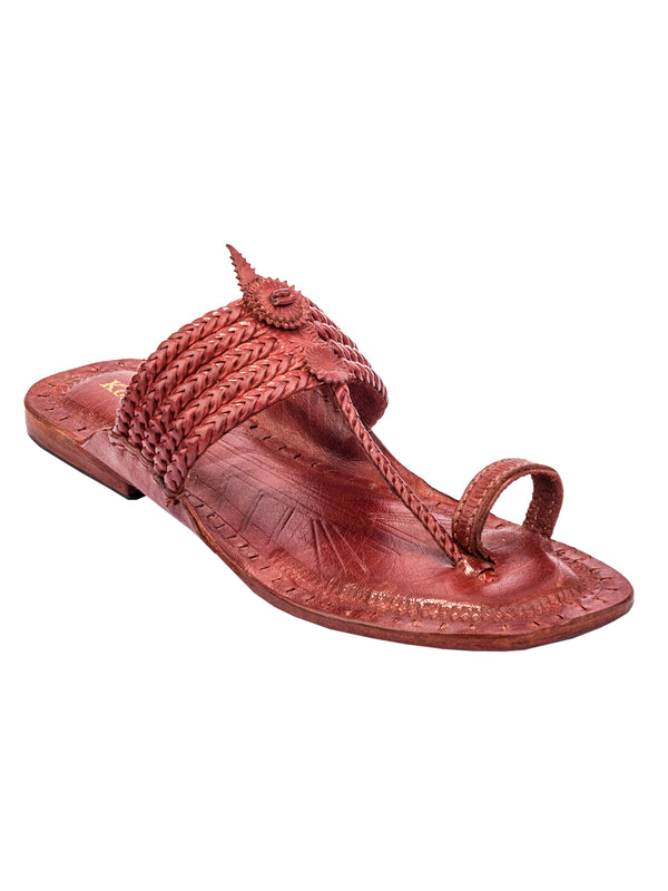 Vintage Red Brown Six Braided Kolhapuri Chappal for Women