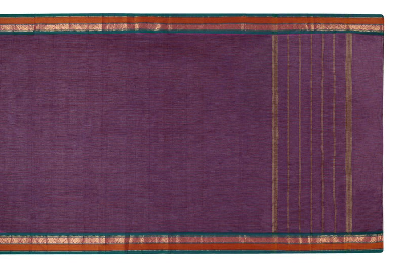 South Cotton Purple Plain Saree