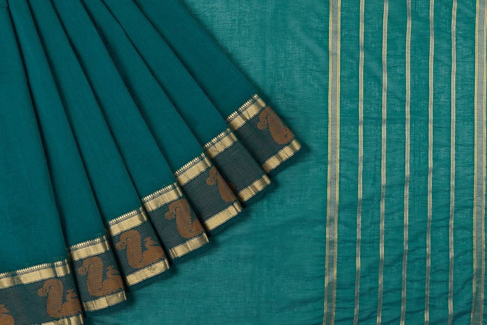 South Cotton Cyan Plain Saree
