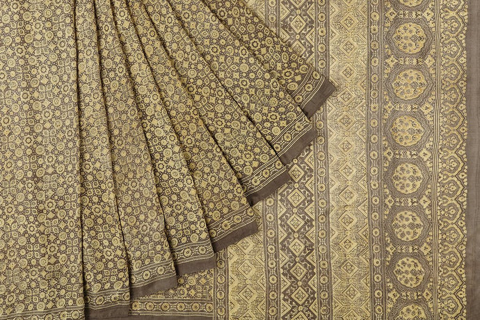 Sand Dust Ajrakh Gajji Silk Saree
