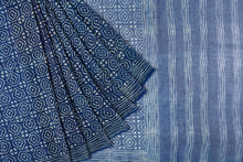 Kota Doriya Cotton Silk Indigo Jaal Saree
