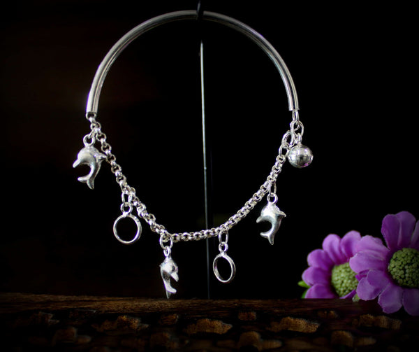 Pipe Bracelet with Dolphin Charms