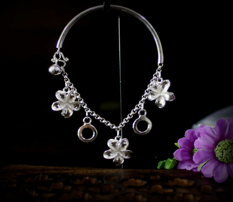 Pipe Bracelet with Flower Charms