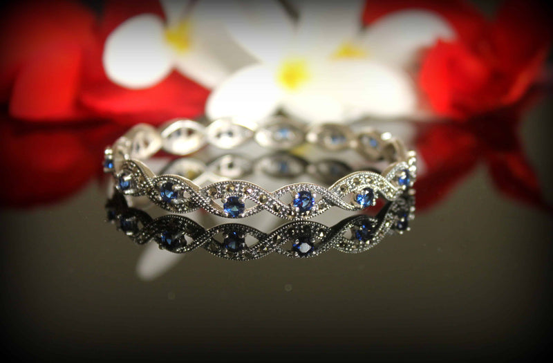Swiss Marcasite Bracelet with Sapphires - Freesize