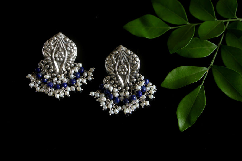 Vintage Studs with lapis and pearl drops