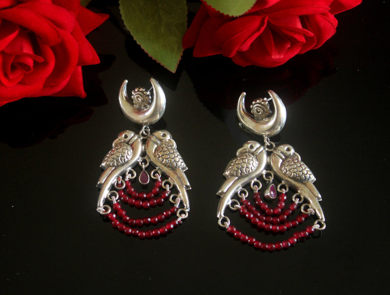 Parrot Statement Danglers with Red Beads