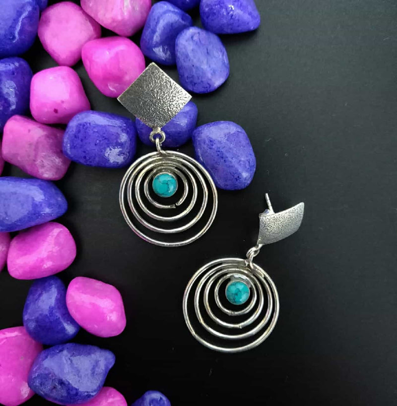 Special Cut Stone Danglers - turquoise
