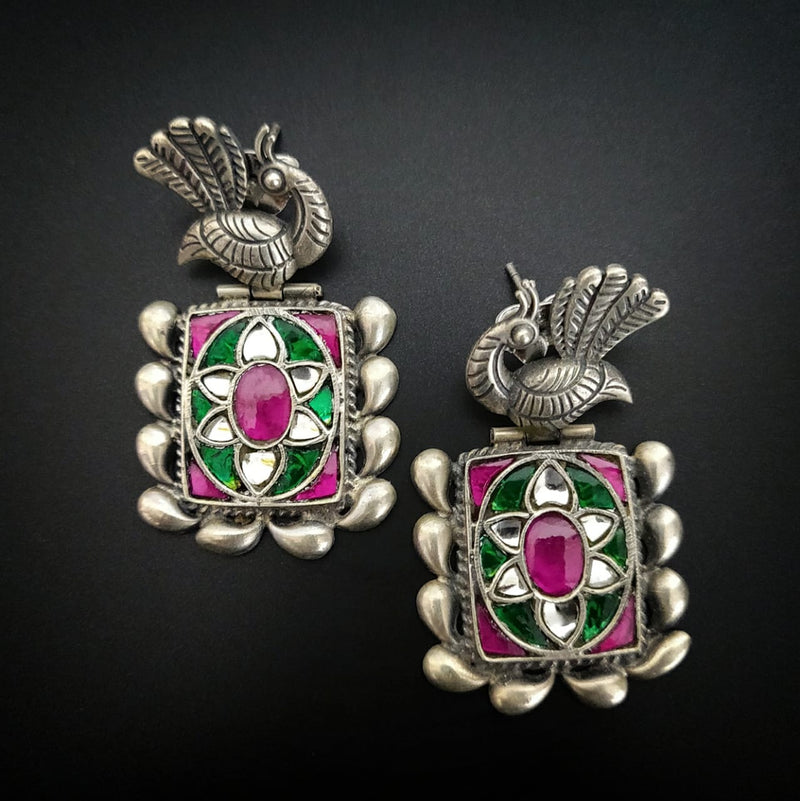 Pure Kundan Silver Danglers with Peacock