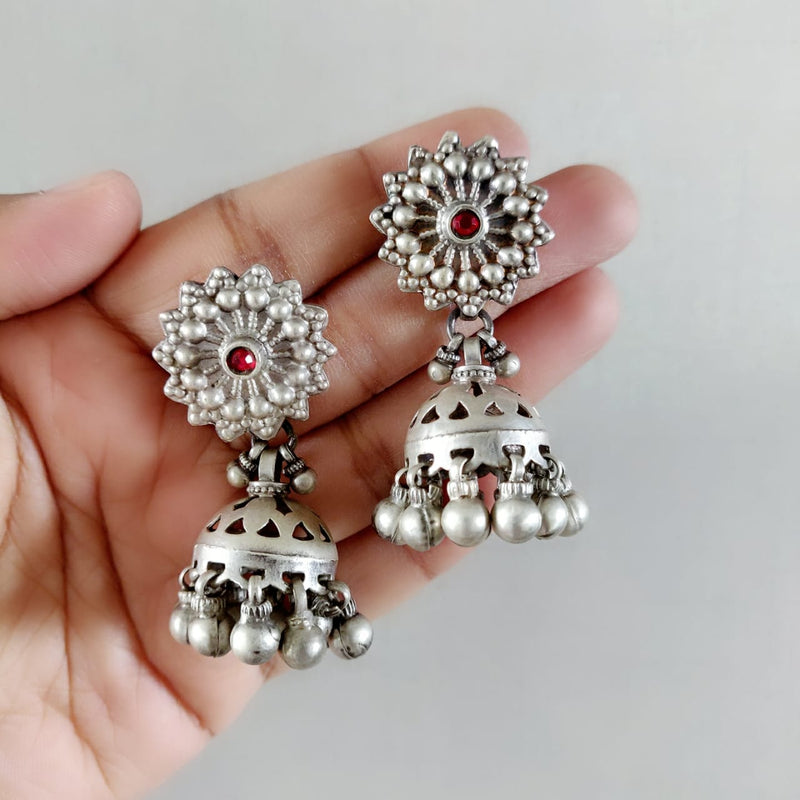 Vintage Jhumkas with Red Stud