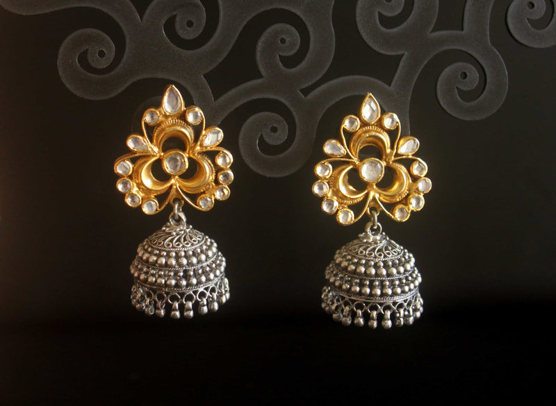 Kundan gold and silver jhumka