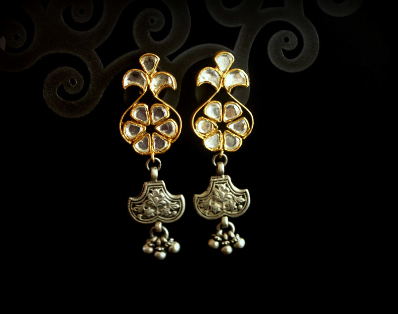Gold and Kundan Earrings with Chitai Art