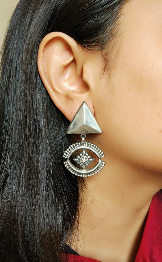Long Silver Earrings - 1