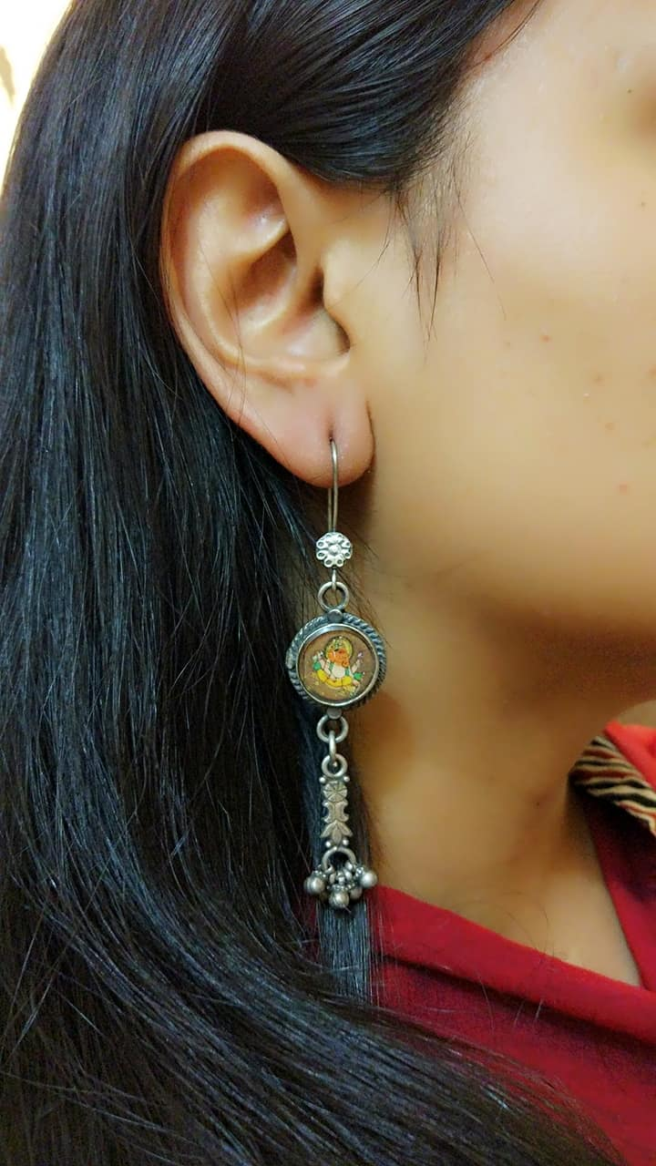 Handpainted Ganesha Long Danglers