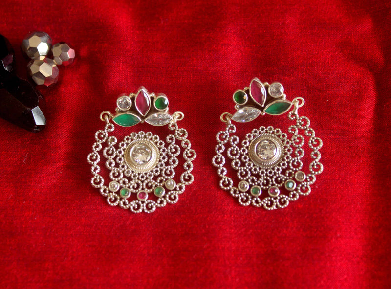 Filigree Earrings with Special Cut Stones - 2