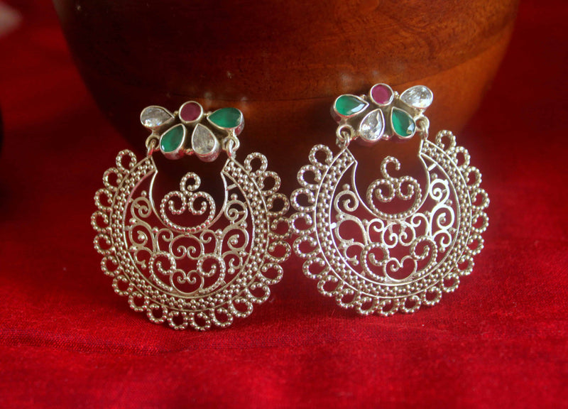 Filigree Earrings with Special Cut Stones - 3