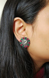 Big Peacock Studs with Cab Stones