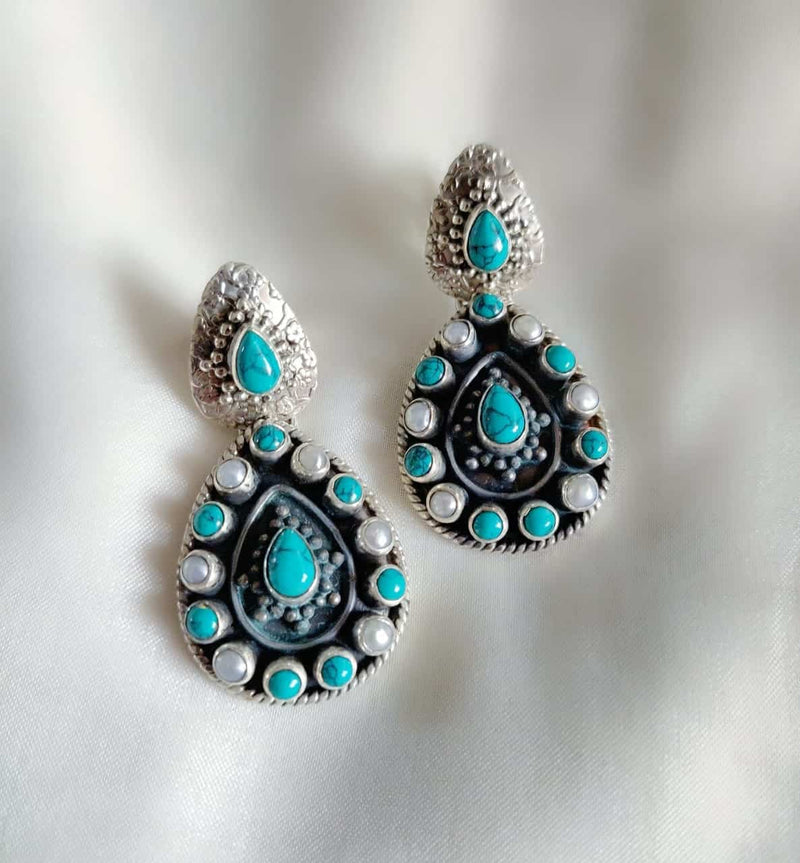 Feroza and Pearl Earrings