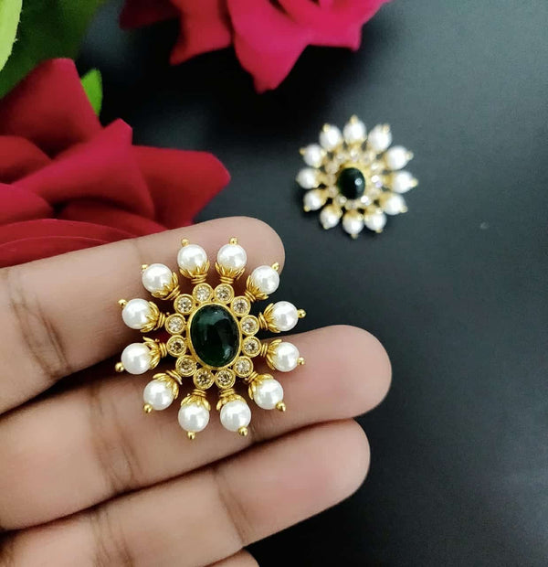 Huge Gold Polish Studs with Pearls