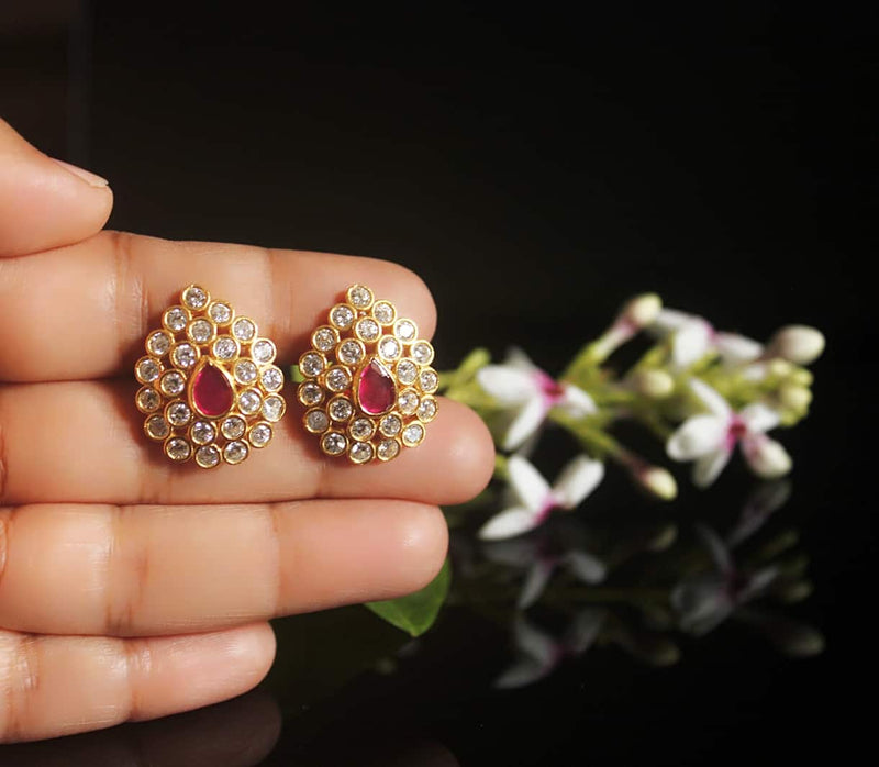 Polki Studs with Gold Polish - 1