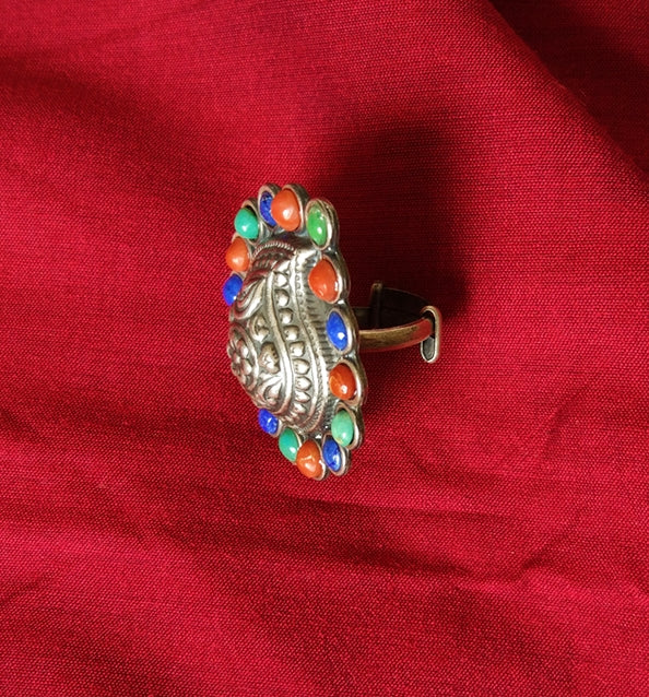 Paisley Silver Ring - Multicolored