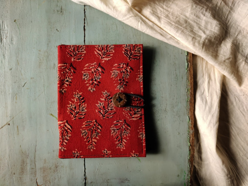 Handmade Red Cotton Unisex Passport Holder