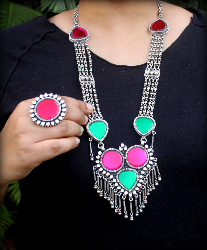 Glass Necklace and Ring Set