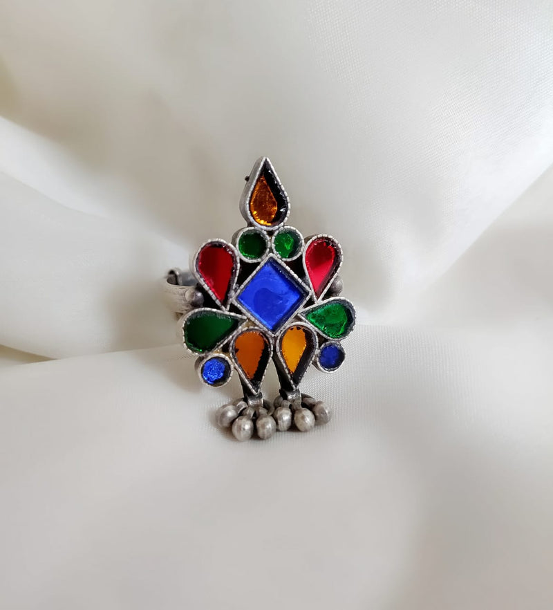 Multicolored Glass Ring with Ghungroos