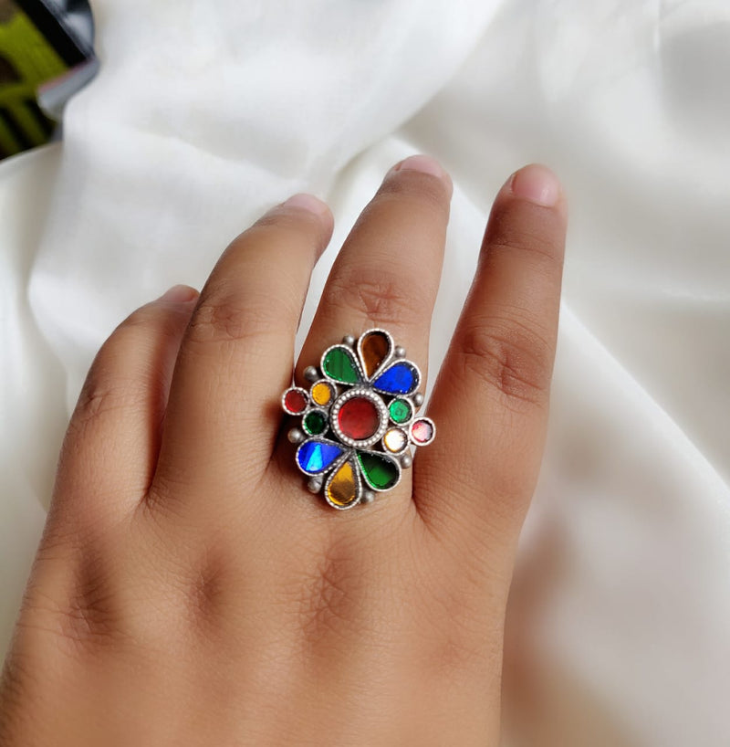Multicolored Glass Ring