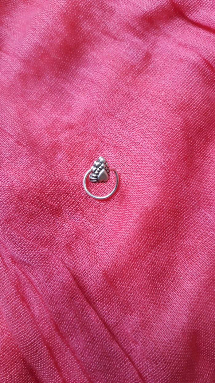 Heart Silver Nose Pin