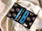 Handmade Blue Cotton Unisex 6 Slot Cardholder