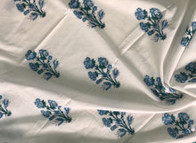 Blue Ornate Sanganeri Cotton Fabric