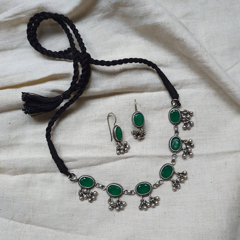 Sterling Silver Dilkash, Green Onyx Ghungroo Necklace Set