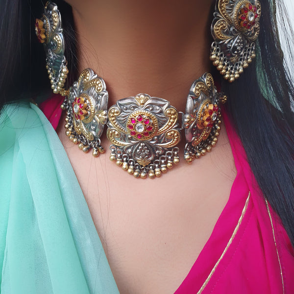 Sterling Silver Dual Tone Kundan Necklace