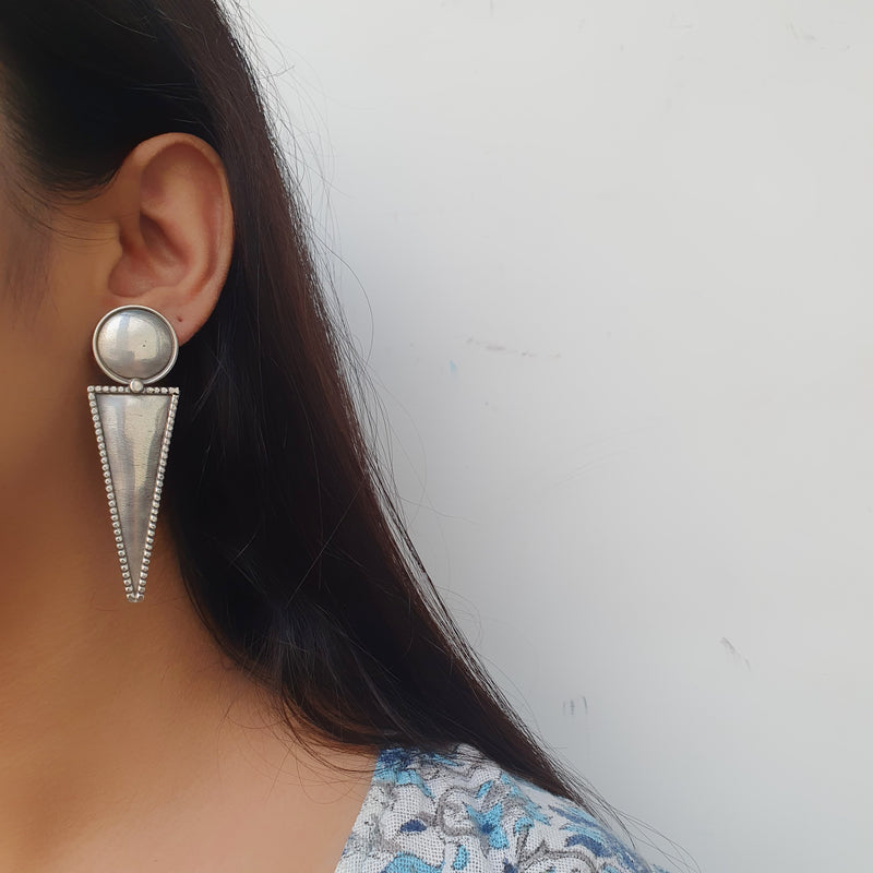 Sterling Silver Geometric Earring