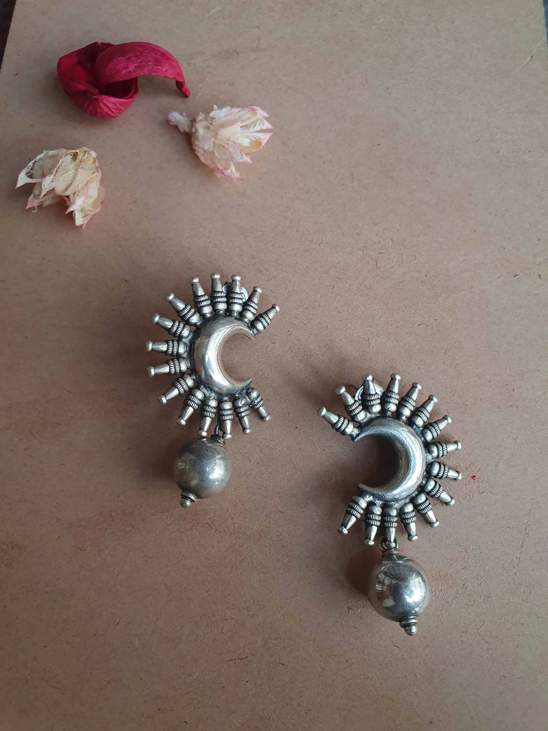 Sterling Silver Crescent  Moon Ball Earring