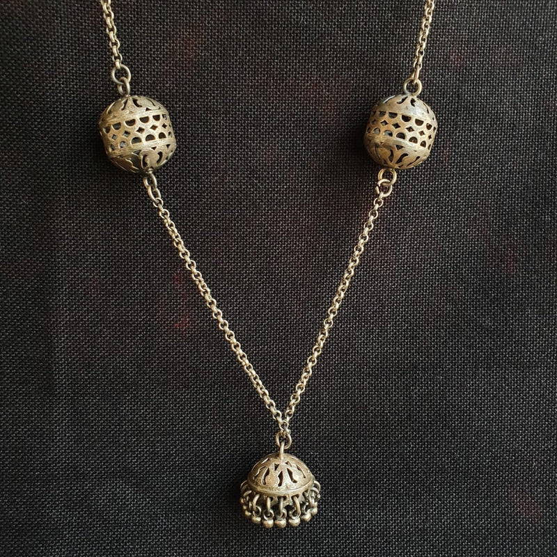 Sterling Silver Jhumki Necklace